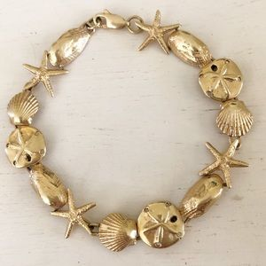 Jewelry - 14K GOLD Starfish Sand Dollars Sea Shell Bracelet
